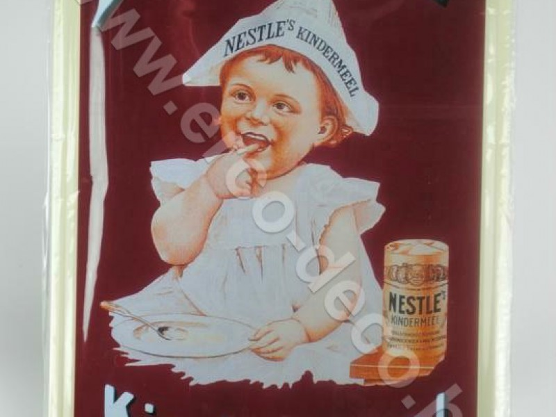 Metalen muurplaat ; reclameplaat  NESTLE'S  KINDERMEEL