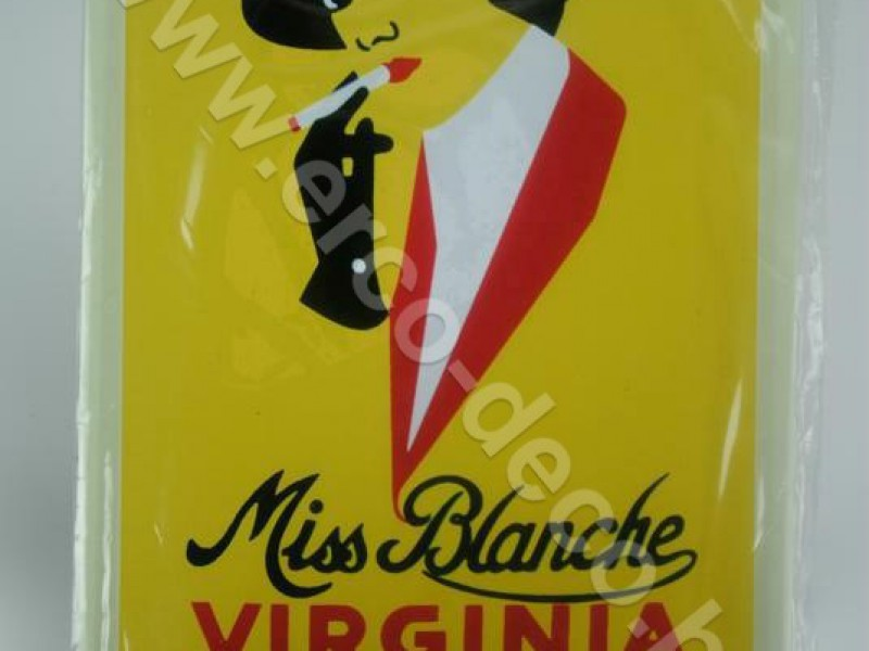 Metalen muurplaat ; reclameplaat  MISS BLANCHE VIRGINIA CIGARETTES