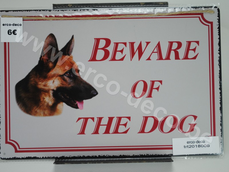 Metalen muurplaat  BEWARE OF THE DOG
