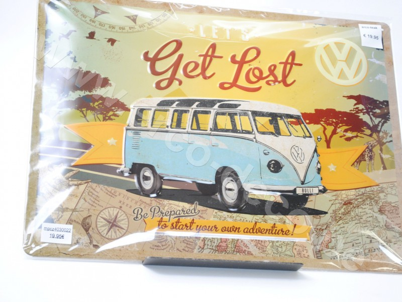 Metalen muurplaat  LET'S GET LOST   VW