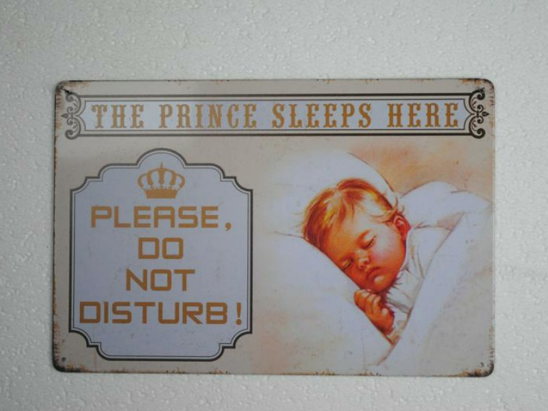 Metalen muurplaat  THE PRINCE SLEEP HERE